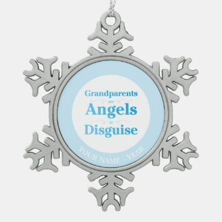 Grandparents are Angels in Disguise Pewter Snowflake Decoration