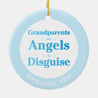 Grandparents are Angels in Disguise Round Ceramic Decoration