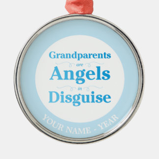 Grandparents are Angels in Disguise Silver-Colored Round Decoration