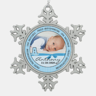 Grandparents Baby Blue Monogram A Snowflake Pewter Christmas Ornament