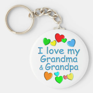 Grandparents Basic Round Button Key Ring