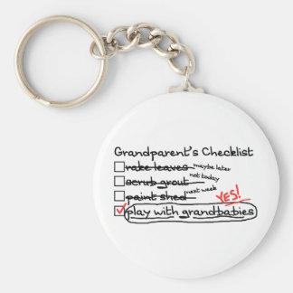 Grandparents' Checklist Basic Round Button Key Ring