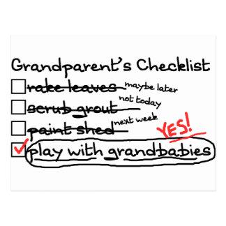 Grandparents Checklist Postcard