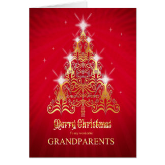 Grandparents, Christmas tree Christmas card