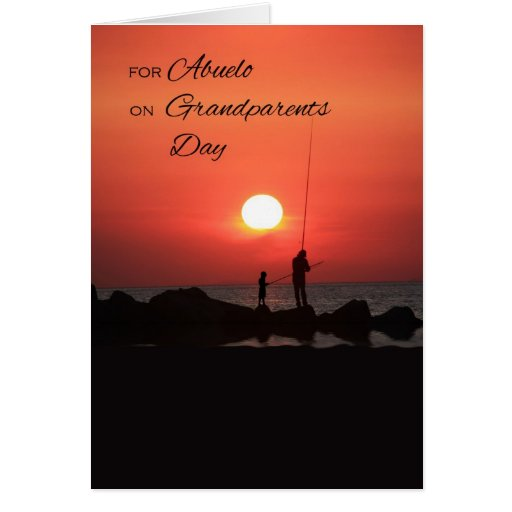 Grandparents Day for Abuelo, Fishing at Sunset Greeting Cards