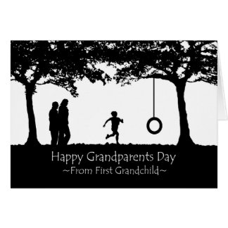 Grandparents Day from First Grandchild, Silhouette Greeting Card