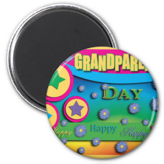 Grandparent's Day, Stars and Blue Flowers 6 Cm Round Magnet