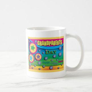 Grandparent's Day, Stars and Blue Flowers Basic White Mug