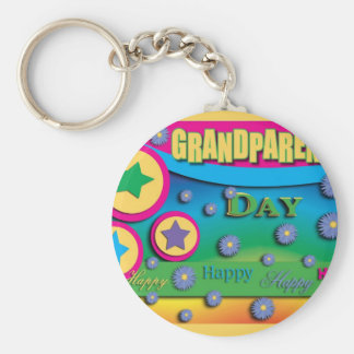 Grandparent's Day, Stars and Blue Flowers Basic Round Button Key Ring