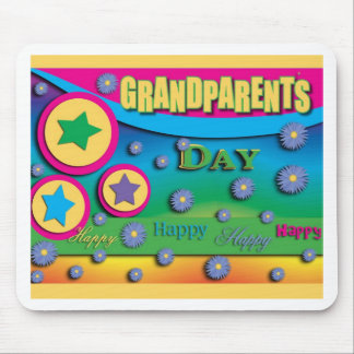 Grandparent's Day, Stars and Blue Flowers Mouse Pad