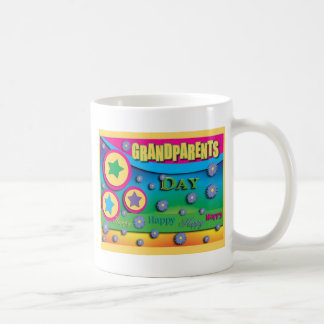 Grandparent's Day, Stars and Blue Flowers Classic White Coffee Mug