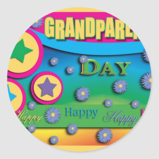 Grandparent's Day, Stars and Blue Flowers Round Sticker