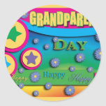 Grandparent's Day, Stars and Blue Flowers Sticker
