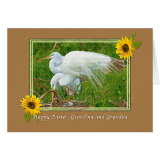 Grandparent's Easter Card with Great Egrets