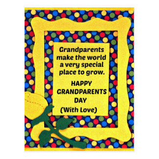 Grandparents make the world a special place... postcard