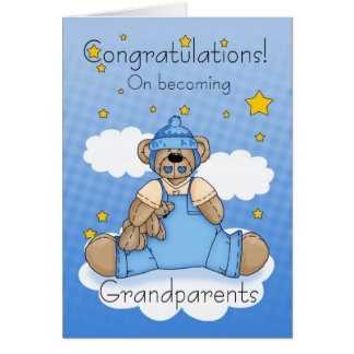 Grandparents New Baby Boy Congratulations Card
