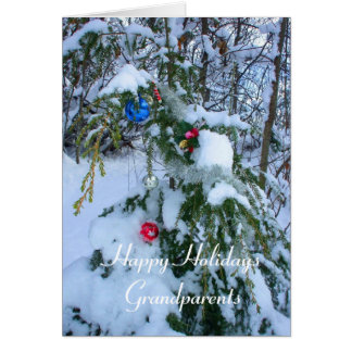 Grandparents Old fashioned Christmas Tree -outside Greeting Card