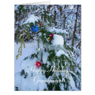 Grandparents Old fashioned Christmas Tree -Outside Big Greeting Card