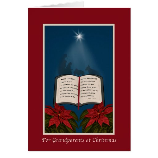 Grandparents, Open Bible Christmas Message Greeting Card