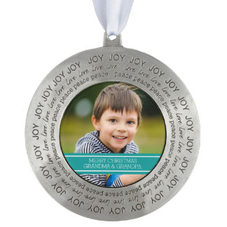 Grandparents Photo Christmas Ornament Teal Round Pewter Ornament
