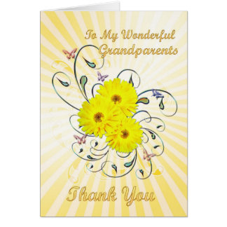 Grandparents Thank you card with yellow flowers