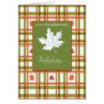 Grandparents Thanksgiving Fall Leaves on Plaid Card