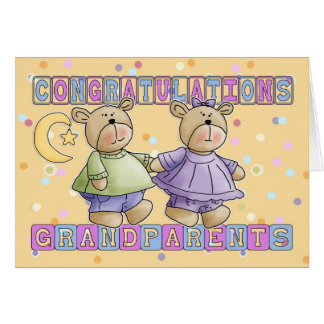 Grandparents To New Baby Twins Congratulations Greeting Card