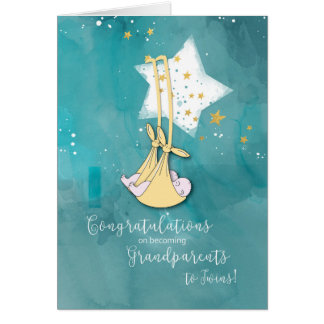 Grandparents to Twins, Congrats, Baby in Stars Card