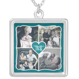 Grandparents Valentine Personalized Instagram Grid Silver Plated Necklace