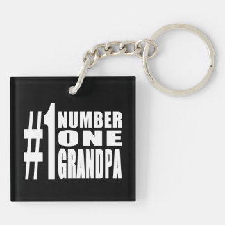 Grandpas Birthdays & Christmas Number One Grandpa Double-Sided Square Acrylic Keychain