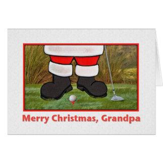 Grandpa's Christmas Card with Golfing Santa