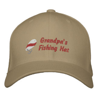 Grandpa's Fishing Hat Custom Personalized Embroidered Baseball Caps