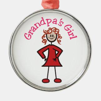 Grandpas Girl Round Metal Christmas Ornament