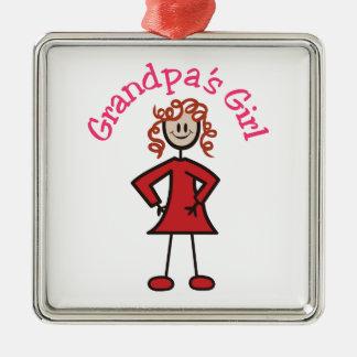 Grandpas Girl Square Metal Christmas Ornament