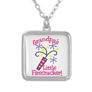 Grandpas Little Firecracker Square Pendant Necklace