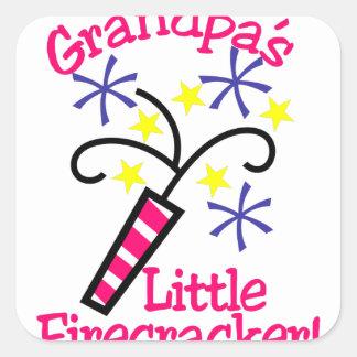 Grandpas Little Firecracker Square Sticker