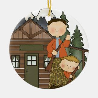 Grandpas Little Hunter Rustic Log Cabin Christmas Ornament