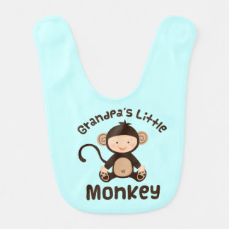 Grandpa's Little Monkey Baby Boy Bib