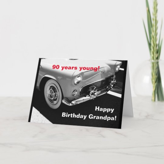 Awe Inspiring Grandpas Vintage Car 90Th Birthday Card Zazzle Co Uk Funny Birthday Cards Online Barepcheapnameinfo
