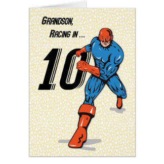 Grandson 10th Birthday Superhero Card