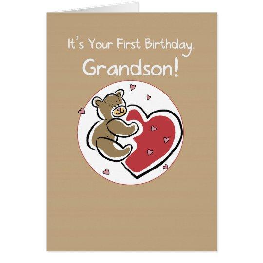 Grandson 1st Birthday Bear Card