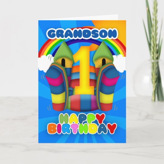 Grandson 1st Birthday Card With Bouncy Castle