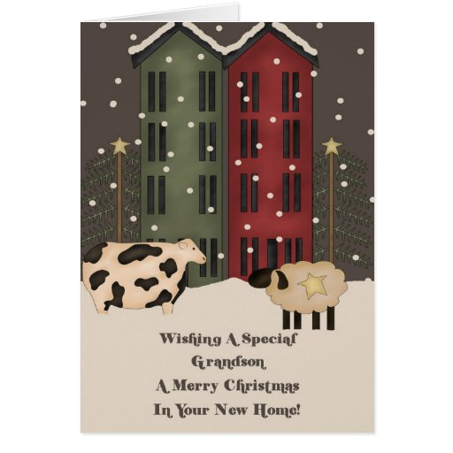 Grandson 1st Christmas in New Home Card