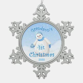 Grandson 1st Christmas Snowman Pewter Snowflake Decoration