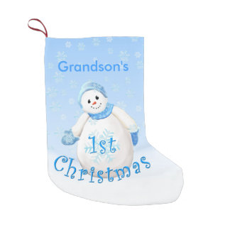 Grandson 1st Christmas Snowman Small Christmas Stocking