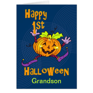 Grandson 1st Halloween Happy Pumpkin Card
