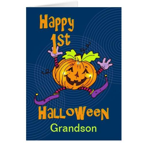 Grandson 1st Halloween Happy Pumpkin Greeting Cards