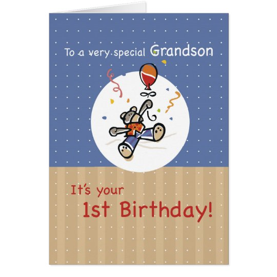 Grandson 1st Teddy Bear Balloon Birthday Card