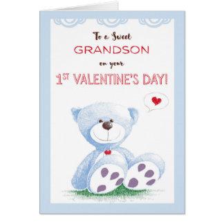 Grandson, 1st Valentine's Day, Blue Teddy Bear on Card