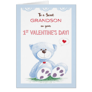 Grandson, 1st Valentine's Day, Blue Teddy Bear on Greeting Card